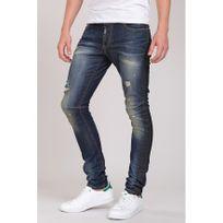 Beststyle - Jeans serré en bas homme bleu usé à la mode