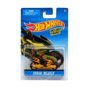 hot wheels moto jaune urbain weaver avec figurine mattel motorcycle vehicule miniature - Voitures Hot Wheels