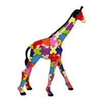 Statue En Résine Girafe Puzzle Multicolore Lucette Hauteur 63 Cm