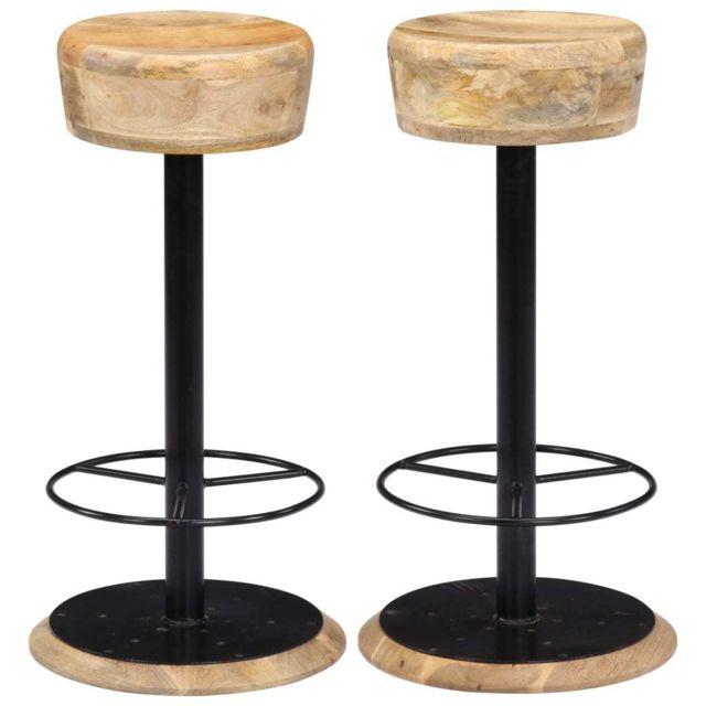 Chaises de bar 2 pcs Bois de manguier solide