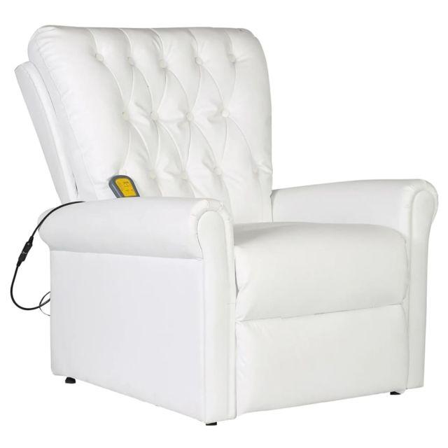 Contemporain Fauteuils ligne Sanaa Fauteuil de massage électrique Cuir artificiel Réglable Blanc