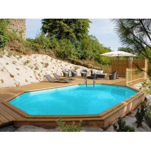Sunbay piscine bois safran 6 37 m x 4 12 m x h 1 33 m for Piscina madera carrefour