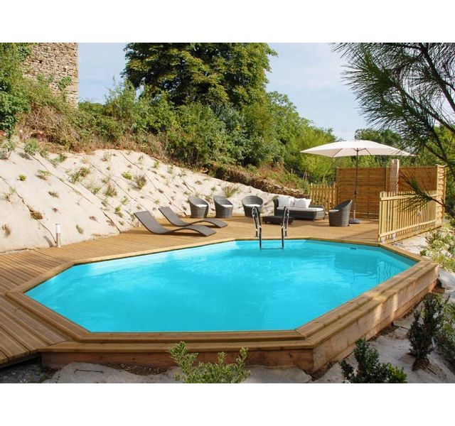 Sunbay piscine bois safran 6 37 m x 4 12 m x h 1 33 m - Piscinas gre carrefour ...