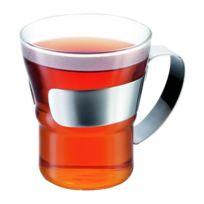 Bodum - Set de 2 verres a thé Assam avec anse 0.3 L gris et transparent