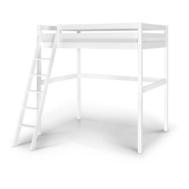 ik idkid 39 s lit mezzanine 2 personnes 140x200 bois massif blanc pas cher achat vente. Black Bedroom Furniture Sets. Home Design Ideas