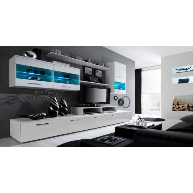 Ensemble de meubles de salon,TV, ilumin.LED, Blanc Mate/Blanc  Laqué,250x194x42cm