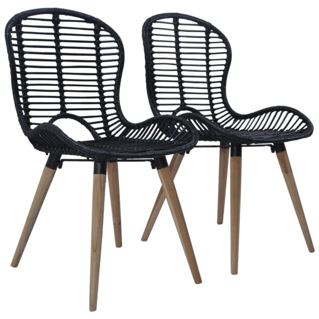 Chaise de jardin 2 pcs Rotin 48x64x85 cm Noir