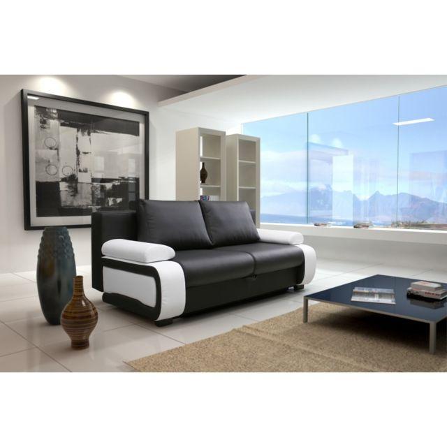 Rocambolesk Canapé convertible Zenek pvc noir blanc sofa divan