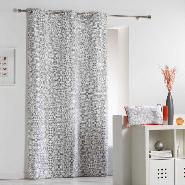 Coton D'INTERIEUR Cdaffaires Rideau a oeillets 140 x 240 cm coton imprime tunis Gris