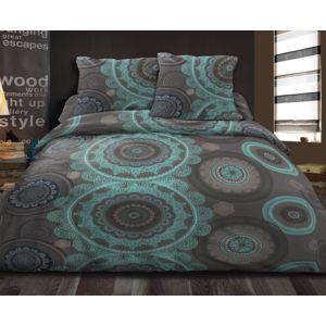 le linge de jules housse de couette 240x260 2 taies pur coton 57 fils mandela bleu 260cm x. Black Bedroom Furniture Sets. Home Design Ideas