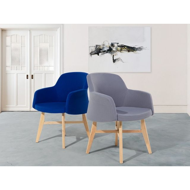 Beliani Fauteuil en tissu-Bleu foncé-Chaise design- Ystad