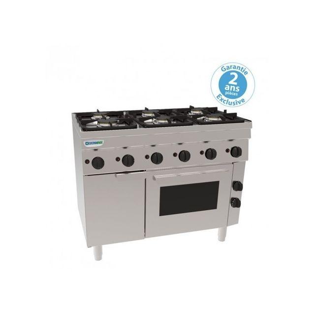 Materiel Chr Pro Fourneau 6 feux avec four électrique ventilé + placard - grilles 400 x 330 mm - gamme 600 - Tecnoinox - 600