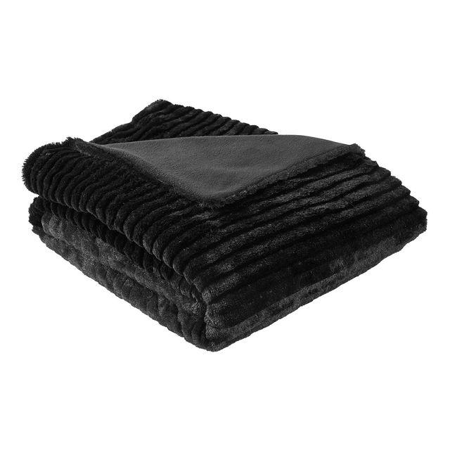 ifilhome plaid fausse fourrure noir loup pas cher. Black Bedroom Furniture Sets. Home Design Ideas