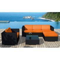 Delorm - Salon Bas En Resine Noire Miami Et Coussins Orange