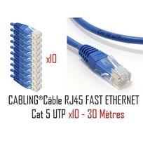 Cabling - Lot de 10 câbles réseau catégorie 5 Utp avec 2 fiches Rj45 30m Bleu