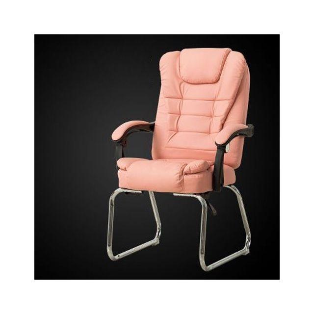 Wewoo Qz-7 Maison Moderne Ordinateur Simple Chaise de bureau Boss de conférence longue Rose