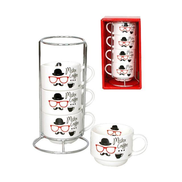 Tasses à café - Présentoir de 4 tasses argenté - Mister Coffee