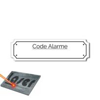 """Plaque gravée autocollante 8cm /""""Alarme/"""" fond rouge"""