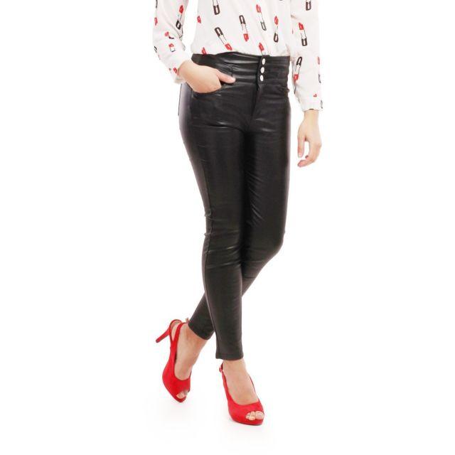 La Modeuse - Pantalon taille haute noir enduit - pas cher Achat ... 13ad60049dd1