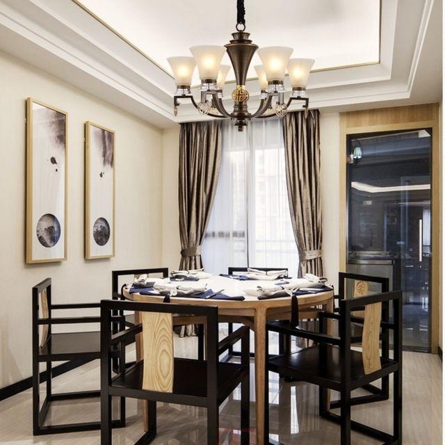 Lampe suspendue Luminaire Salon Lustre d\'éclairage de décoration maison  moderne en cuivre, 6 têtes