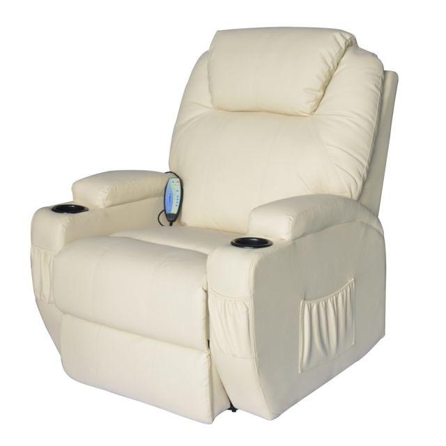 HOMCOM - Fauteuil de massage relaxation électrique chauffant inclinable pivotant 360° avec repose-pied ajustable coloris crème neuf 69