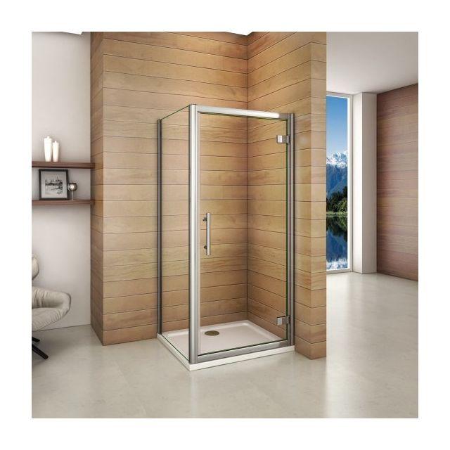 marque generique cabine de douche 100x80x185cm porte de douche pivotante en verre securitavec. Black Bedroom Furniture Sets. Home Design Ideas