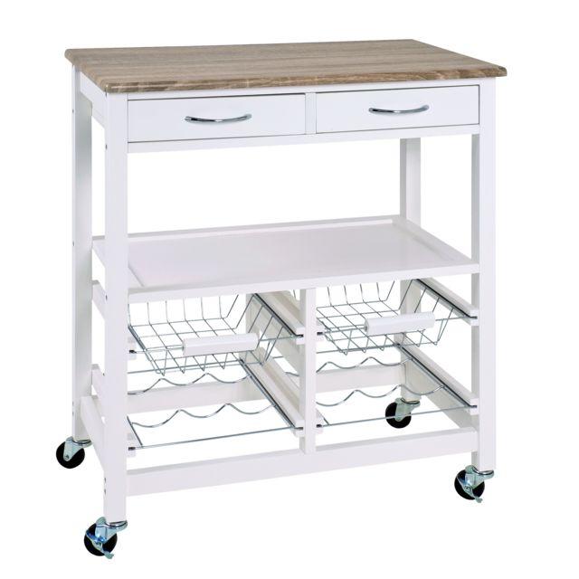Contemporain NUANCEMEUBLE table de cuisine roulante Dacca blanc-chêne clair L68 x P37 x H84 cm