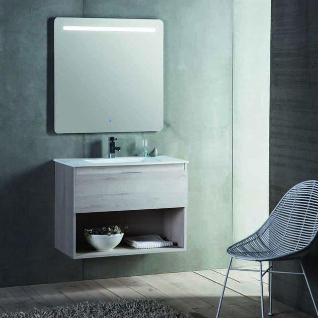 Rue du bain meuble de salle de bain 1 tiroir vasque et miroir led 60x46 cm jade pas - Meuble salle de bain rue du commerce ...