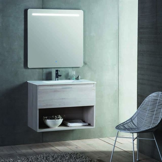 Rue Du Bain Meuble de salle de bain 1 tiroir + vasque et miroir Led - 60x46 cm - Jade
