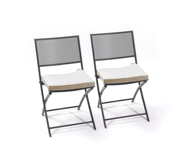 Dcb Garden Lot de 2 chaises pliantes perforées