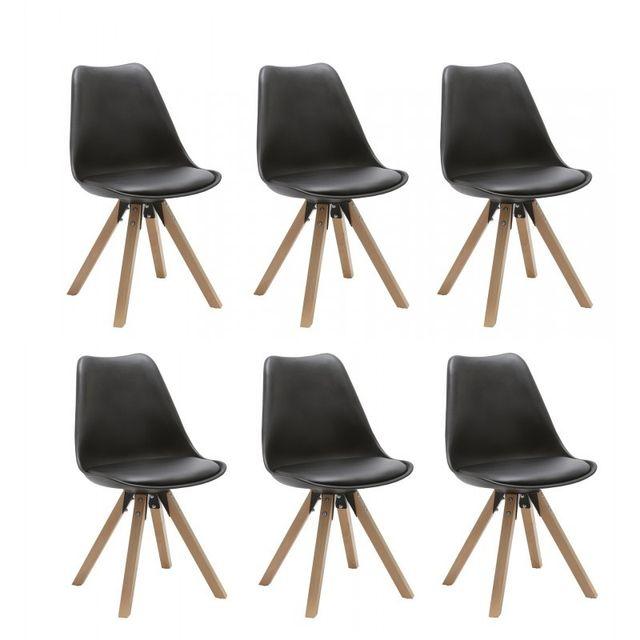 Autre Set de 6 chaises de salle à manger design simili-cuir noir pieds bois Cds09227