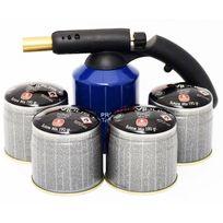 Providus - Kit lampe a souder Pg 400 M coque acier piezo + 4 cartouches. Bouteille gaz 190g avec sécurité stop gaz