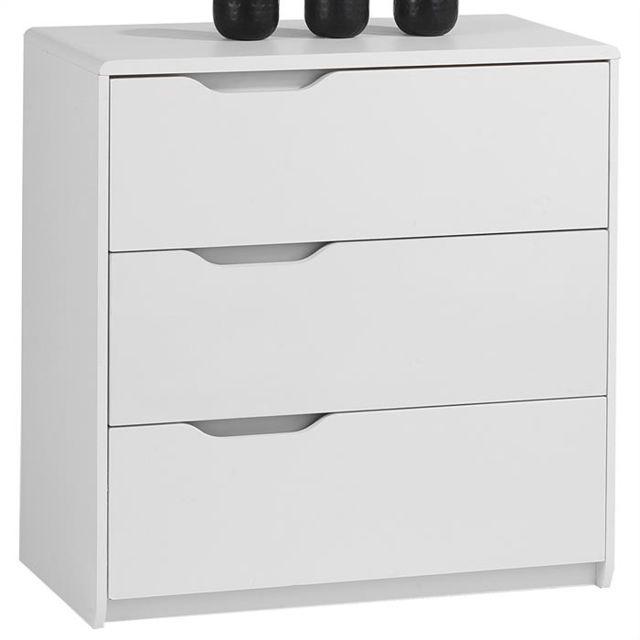 IDIMEX Commode rangement 3 tiroirs décor blanc