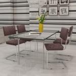 Rocambolesk - Superbe 4 pcs Chaise de salle à manger en similicuir Brun Neuf