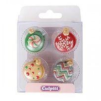 Autre - Donnez un air de fête à vos gâteaux avec des décorations en sucre colorées en forme de boules de Noël
