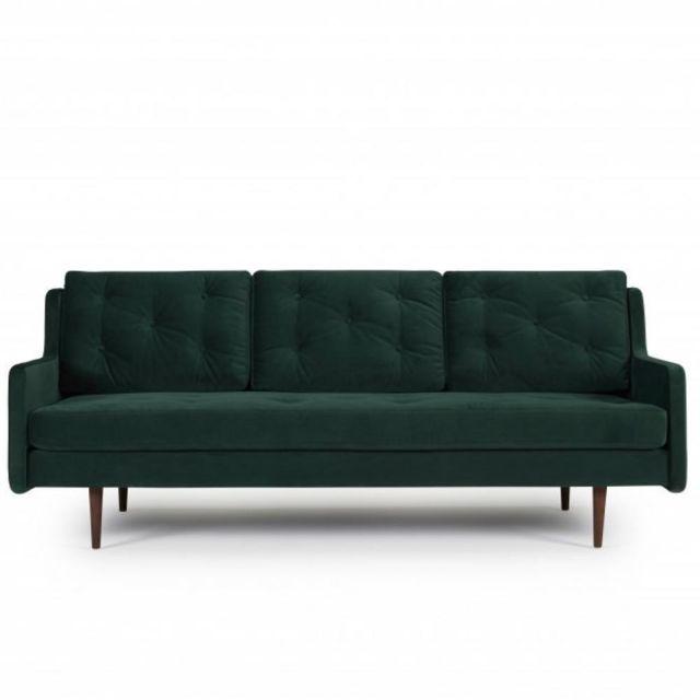 INSIDE 75 Canapé 3 places design scandinave HORTE velours vert piétement en chêne teinté noyer