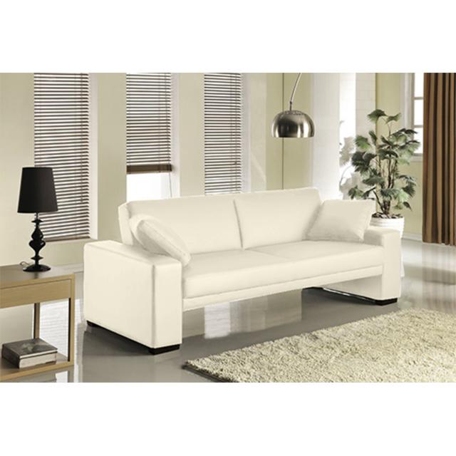 Concept Usine - Vincente : Canapé 3 personnes blanc convertible lit 3 places - Simili - Canapé convertible 215cm x 81cm x 87cm