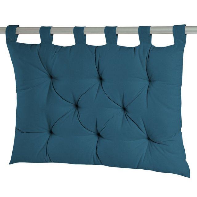 Dhf Coussin tête de lit à passants 8 capitons uni 100% coton 60x80cm Romeo - Bleu canard