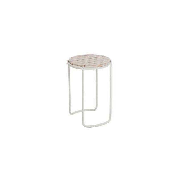 J-line - Table d\'appoint Ronde en métal Bois 61 x 46 x 42 cm ...