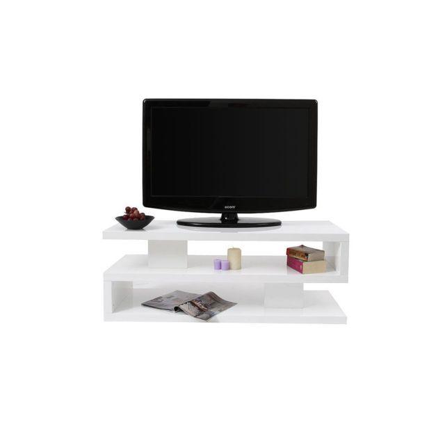Miliboo Mobili Tv.Meuble Tv Design Laque Brillant Blanc Nexy