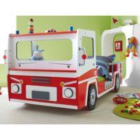 - Lit enfant pompier Longueur 190/200 x Largeur 90cm Rouge / Blanc Bogota