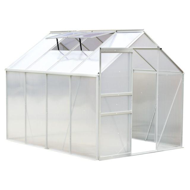 OUTSUNNY - Serre de jardin aluminium polycarbonate 9,17 m³ 2,5L x 1 ...