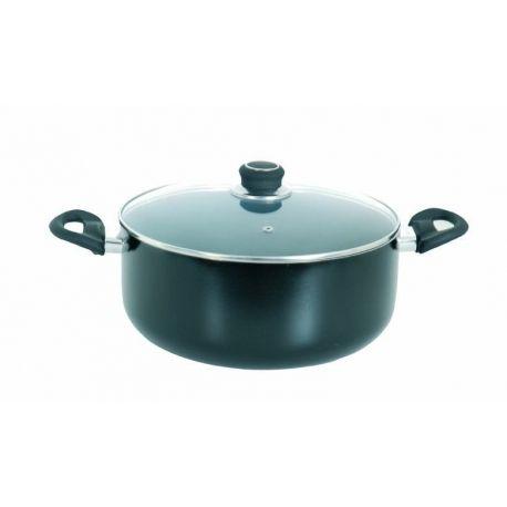 Msv Faitout 24cm revetement ceramique noire avec couvercle