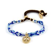 Blue Pearls - Ettika - Bracelet Peace and Love et Coton Tressé Bleu - Etk 0140