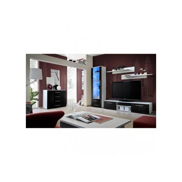 Price factory meuble tv galino b design coloris blanc et noir brillant meuble moderne et for Meuble salon noir et blanc