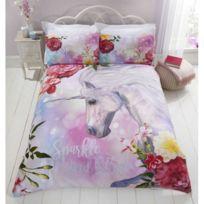 Licorne Cheval Rose Parure De Lit Housse De Couette