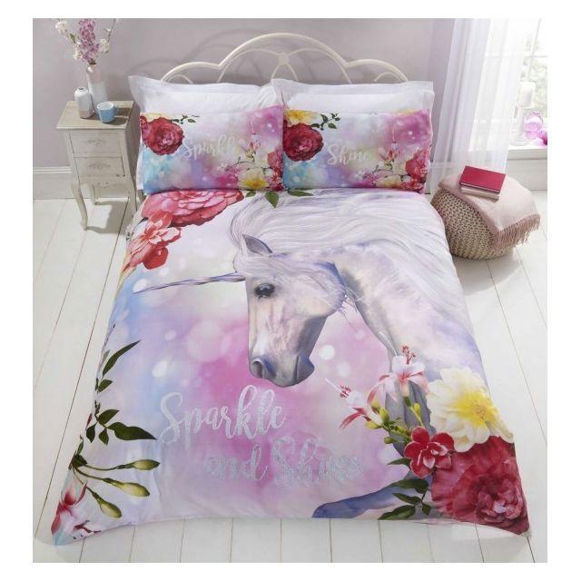 home licorne cheval rose parure de lit housse de couette multicolore n a n a pas. Black Bedroom Furniture Sets. Home Design Ideas