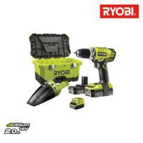 Ryobi - Pack Perceuse Visseuse 18V OnePlus RCD18-220 - Aspirateur d'atelier CHV182M - 2 batteries LithiumPlus 18V 2.0Ah - 1 Chargeur Rapide RCD18-220VT