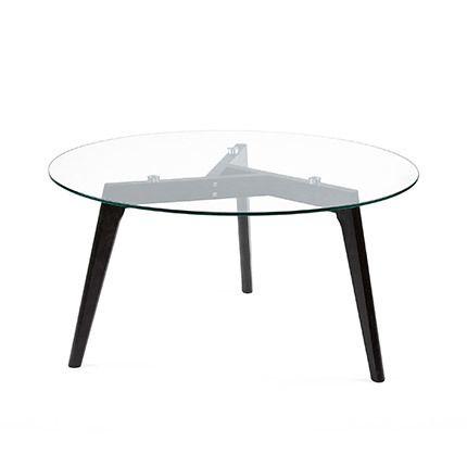 Table d'appoint en verre avec pieds chêne noir