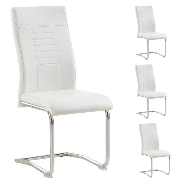 Lot de 4 chaises de salle à manger ou cuisine LOANO avec assise rembourrée et piètement chromé, revêtement en synthétique blanc